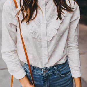 SEZANE white eyelet ruffle blouse